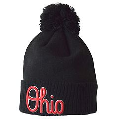 Adult Ohio State Buckeyes Script Fleece-Lined Cuffed Pom Beanie