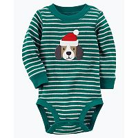 Baby Boy Carter's Striped Thermal Santa Hat Dog Graphic Bodysuit
