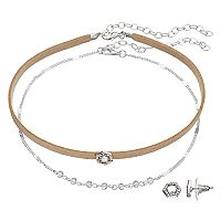 LC Lauren Conrad Hexagon Choker Necklace & Stud Earring Set