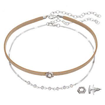 LC Lauren Conrad Hexagon Choker Necklace & Stud Earring Set