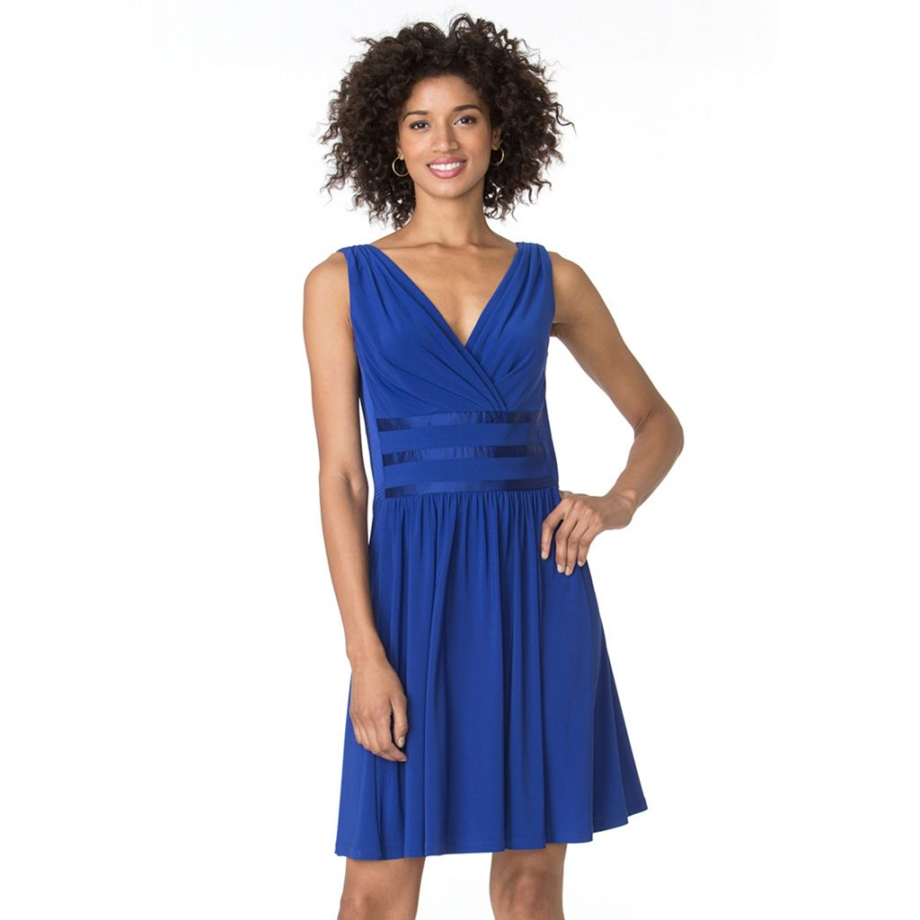 Women's Chaps Satin-Trim Fit and Flare Evening Dress