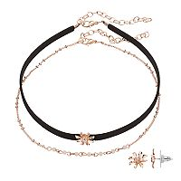 LC Lauren Conrad Flower Choker Necklace & Stud Earring Set
