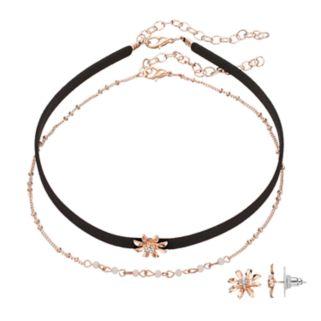 LC Lauren Conrad Flower Choker Necklace & Stud Earring Set