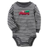 Baby Boy Carter's Striped Truck & Christmas Tree Thermal Bodysuit