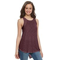 Juniors' SO® Lace Trim Split-Back Tank