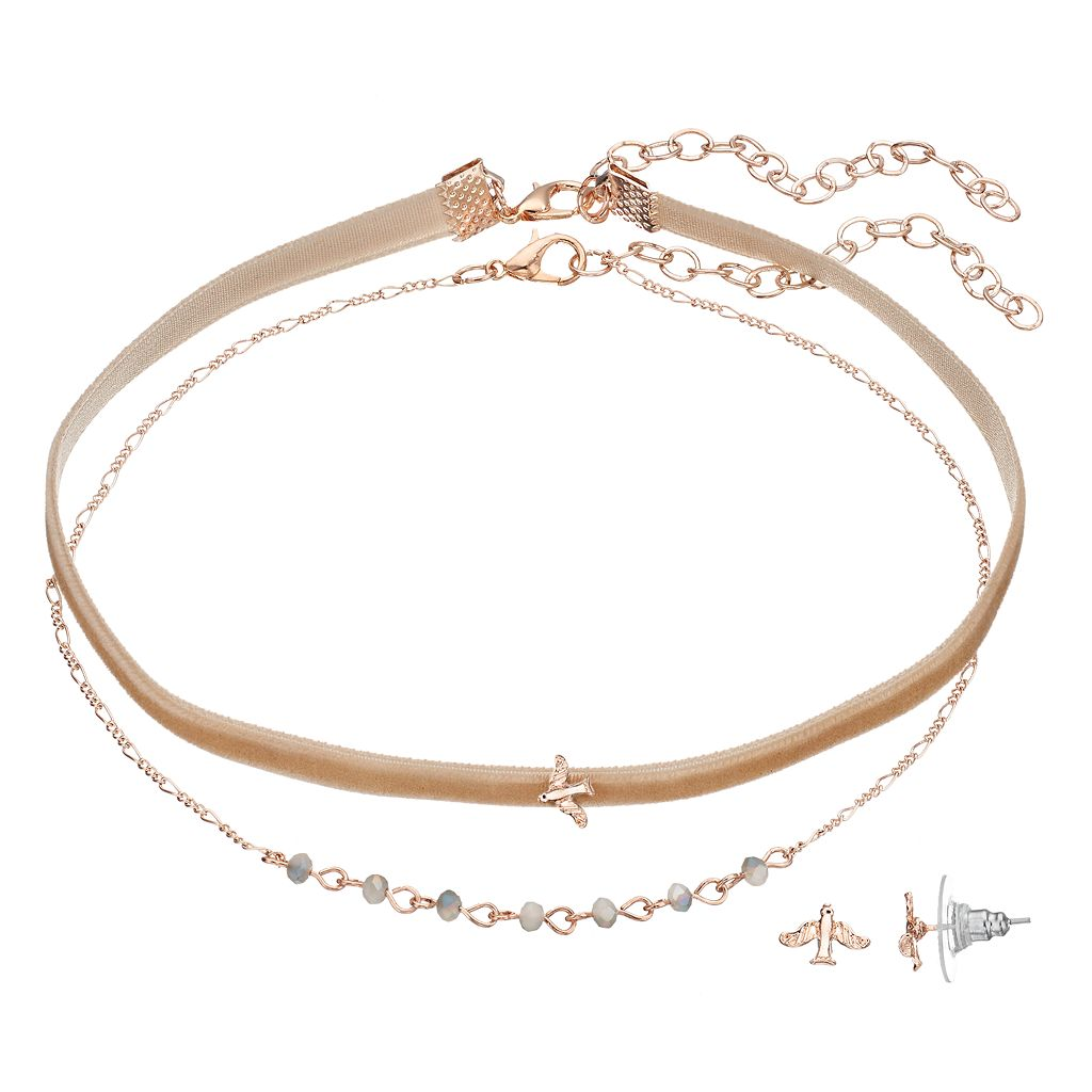 LC Lauren Conrad Velvet Choker Necklace & Bird Stud Earring Set
