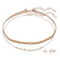 LC Lauren Conrad Velvet Choker Necklace & Bird Stud Earring Set