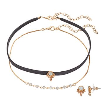 LC Lauren Conrad Ornate Simulated Crystal Choker Necklace & Stud Earring Set