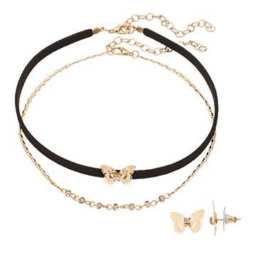 LC Lauren Conrad Butterfly Choker Necklace & Stud Earring Set