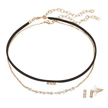 LC Lauren Conrad 3-Stone Choker Necklace & Drop Earring Set