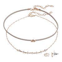 LC Lauren Conrad Lotus Flower Choker Necklace & Stud Earring Set