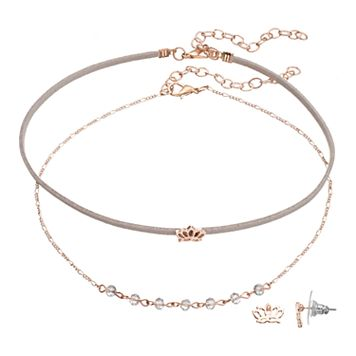 LC Lauren Conrad Lotus Flower Choker Necklace & Stud Earring Set