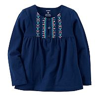 Baby Girl Carter's Heart Tribal Pattern Embroidered Yoke Pink Top