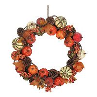 Celebrate Fall Together Artificial Pumpkin Wreath