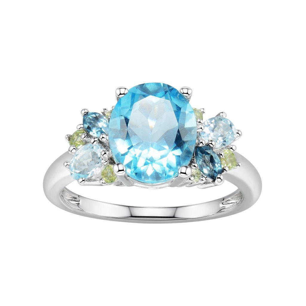 Sterling Silver Blue Topaz & Peridot Ring