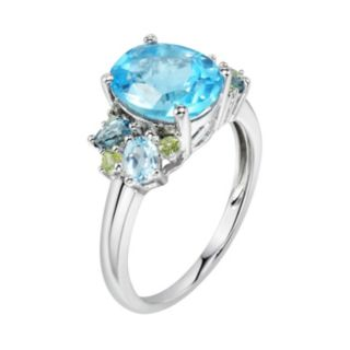 Sterling Silver Blue Topaz & Peridot Ring