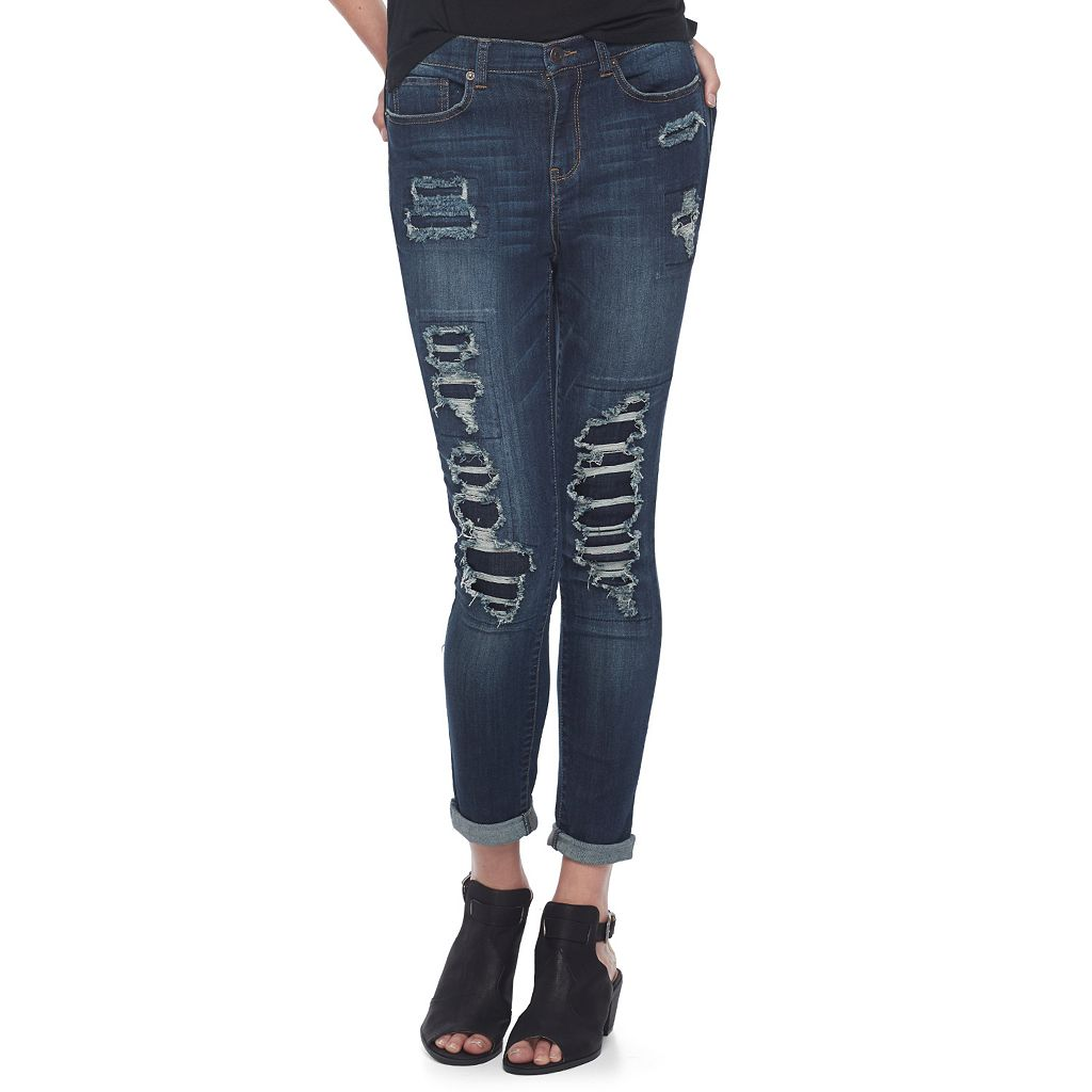 Juniors' Mudd® Ripped Patch Ankle Skinny Jeans