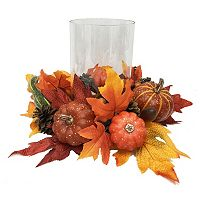 Celebrate Fall Together Artificial Leaves Hurricane Candle Holder