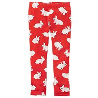 Baby Girl Carter's Fleece-Lined Bunny Rabbit Print Leggings