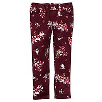 Baby Girl Carter's Maroon Floral Twill Pants