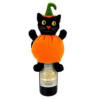Celebrate Halloween Together Pumpkin Cat Wine Cover