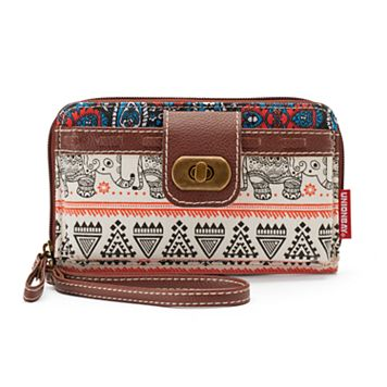 Unionbay Tribal Elephant Print Zip-Around Cell Phone Wallet