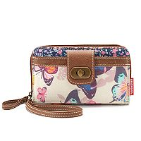 Unionbay Butterfly Print Zip-Around Cell Phone Wallet
