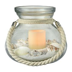San Miguel LED Candle, Sand & Seashell Coastal Table Decor Set