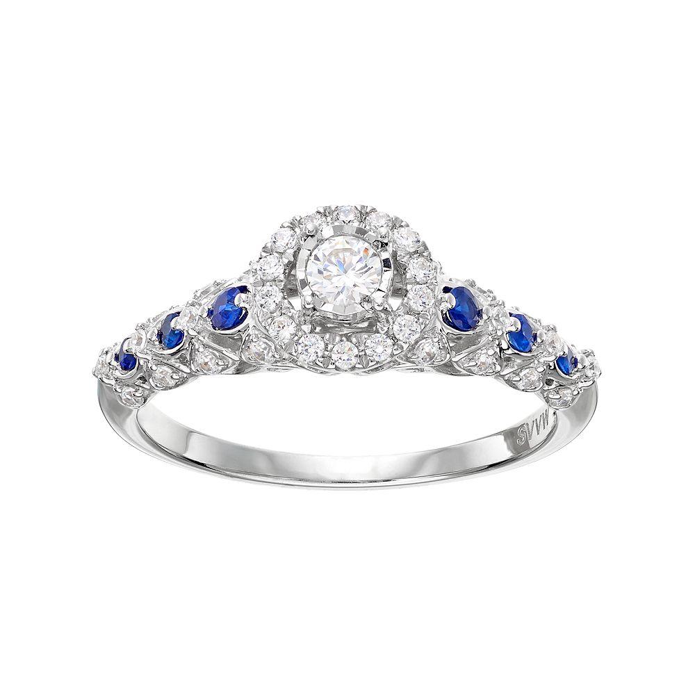 3 Carat Tw Diamond & Sapphire Halo Engagement  Ring