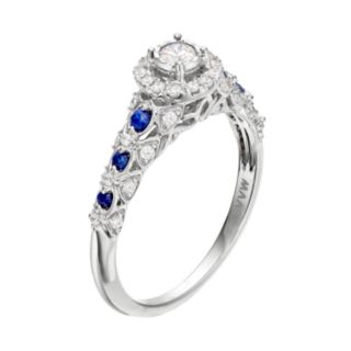 Simply Vera Vera Wang 14k White Gold 1/3 Carat T.W. Diamond & Sapphire Halo Engagement Ring