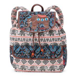 Unionbay Tribal Elephant Applique Drawstring Backpack