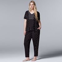 Plus Size Simply Vera Vera Wang Pajamas: Evening Oasis Short Sleeve Top & Pants PJ Set