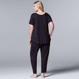 Plus Size Simply Vera Vera Wang Pajamas: Evening Oasis Short Sleeve Top & Pants PJ Set