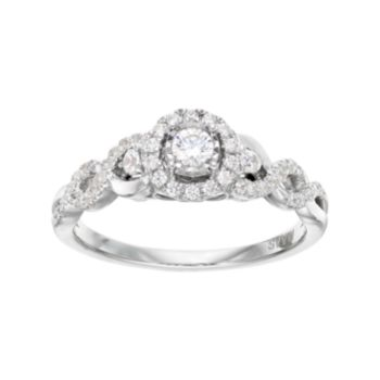 Simply Vera Vera Wang 14k White Gold 3/8 Carat T.W. Diamond Halo Engagement Ring