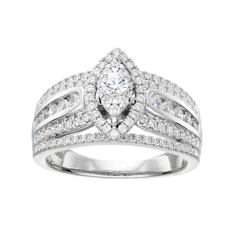 Vera Vera Wang 14k White Gold 1 Carat TW Diamond Marquise