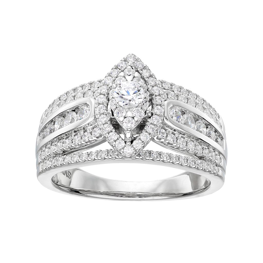 Simply Vera Vera Wang 14k White Gold 1 Carat T.W. Diamond Marquise Engagement Ring