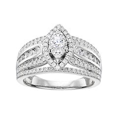 Simply Vera Vera Wang 14k White Gold 1 Carat T.W. Diamond Marquise Engagement Ring