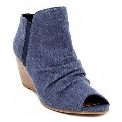 sugar Krenza Women's Peep Toe Wedges