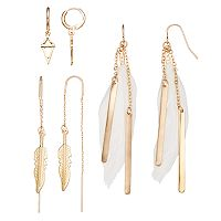 Mudd® White Feather Drop & Hoop Earring Set
