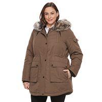 Plus Size Apt. 9® Hooded Faux-Fur Trim Parka