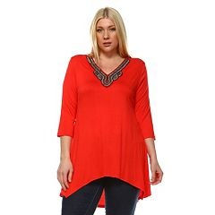 Plus Size White Mark Embellished High-Low Tunic