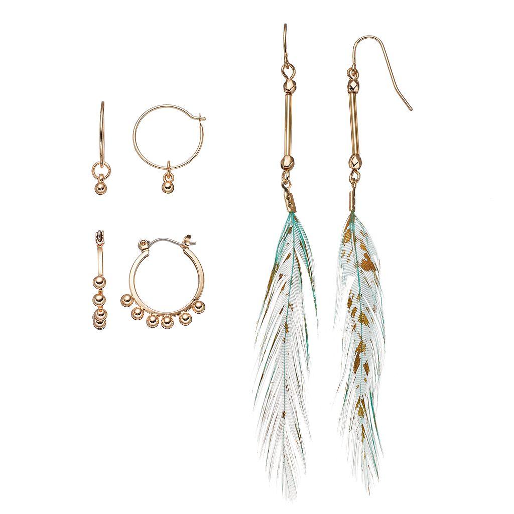 Mudd® Aqua Feather Drop & Beaded Hoop Earring Set