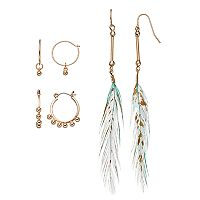 Mudd® Aqua Feather Drop & Beaded Hoop Earring Set