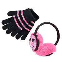 Girls 4-16 Space-Dye Emoji Earmuffs & Gloves Set