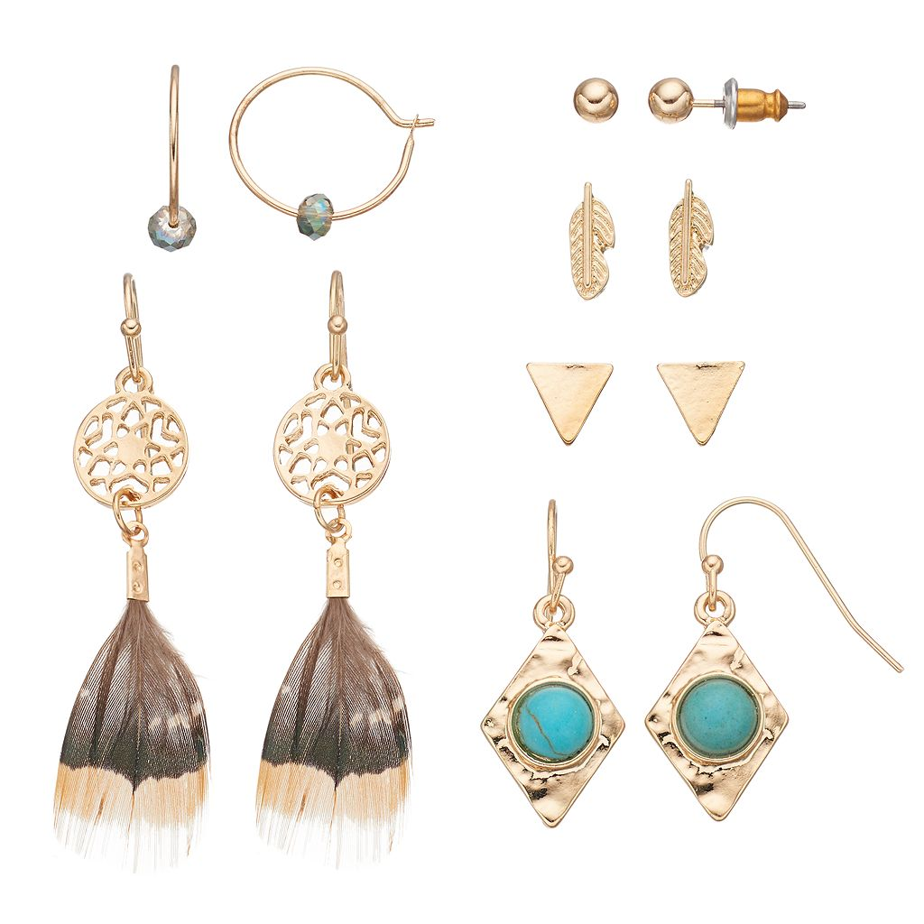 Mudd® Feather Dream Catcher, Leaf & Triangle Earring Set