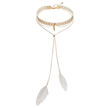 Feather Bolo Layered Choker Necklace