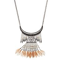 Seed Bead Feather Fringe Curved Bar Necklace