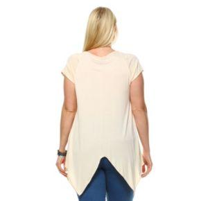 Plus Size White Mark Embellished Asymmetrical Tunic