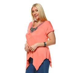 Plus Size White Mark Embellished Asymmetrical Tunic