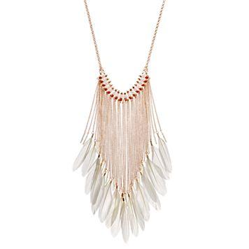Orange Beaded Feather Fringe Necklace